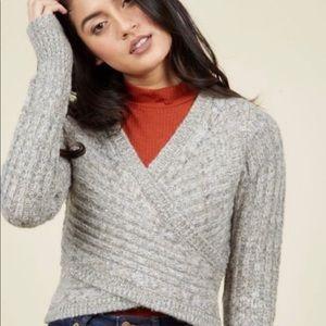 ModCloth Grey Wrap Sweater Sz 1X EUC